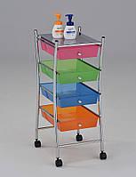 Комод передвижной на четыре цветных ящика