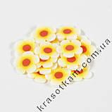 Фимо цветок жёлто-белый красная середина штанга, фото 2