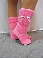 Женские домашние сапожки-тапочки чуни махровые, розовый цвет
