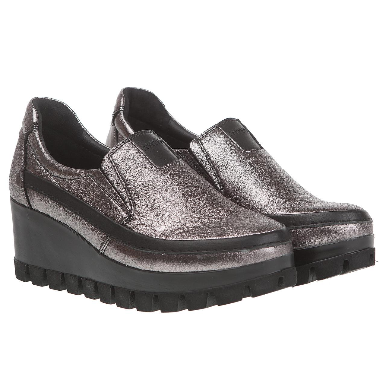 332ac47a7 Женские туфли Alpino (на удобной танкетке, серебристого цвета, удобные,  кожаные)