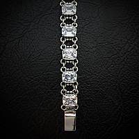 Серебряный женский браслет, 190мм, с прозрачными фианитами