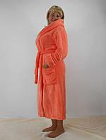 Длинный женский махровый халат с капюшоном большие размеры, оранжевый цвет