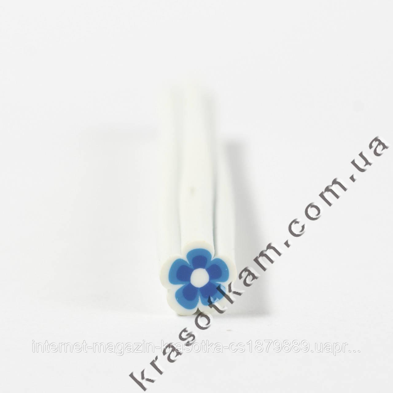 Фимо цветок сине-белый штанга
