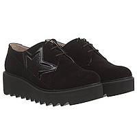 Женские туфли FAVI (черные, замшевые, на массивной подошве, стильные, оригинальные)