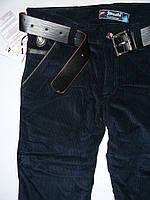 Вельветовые синие штаны на флисе для мальчиков 122-146