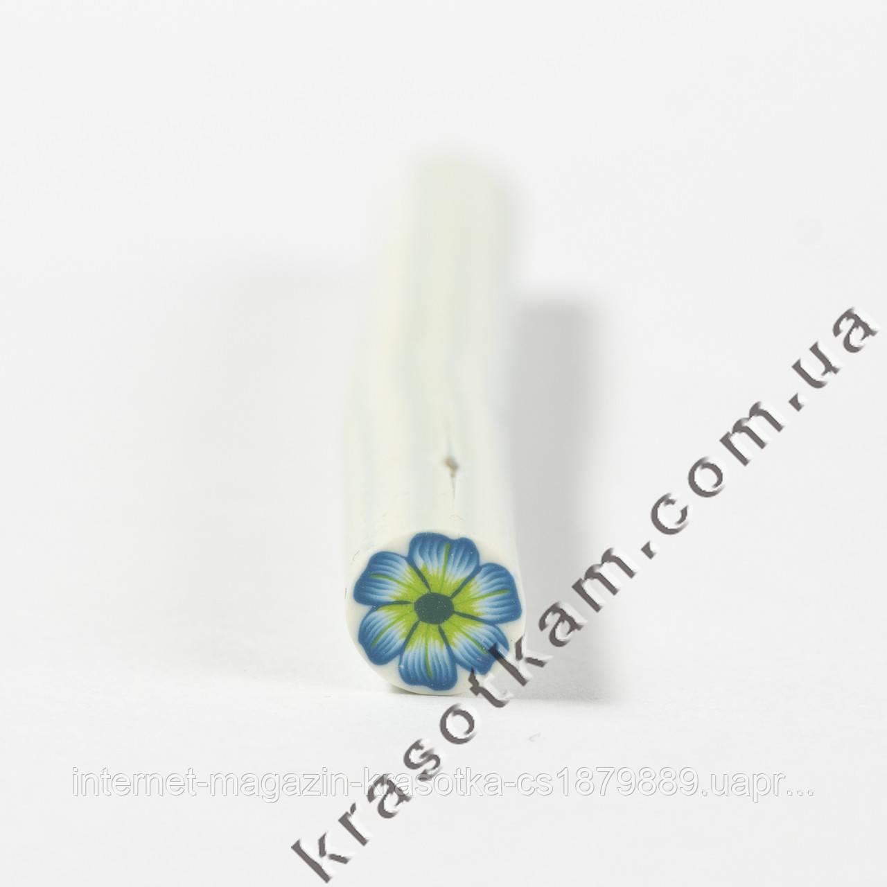 Фимо цветок сине-зелёный штанга