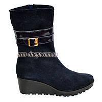 Женские демисезонные ботинки на невысокой платформе, натуральная синяя замша., фото 1