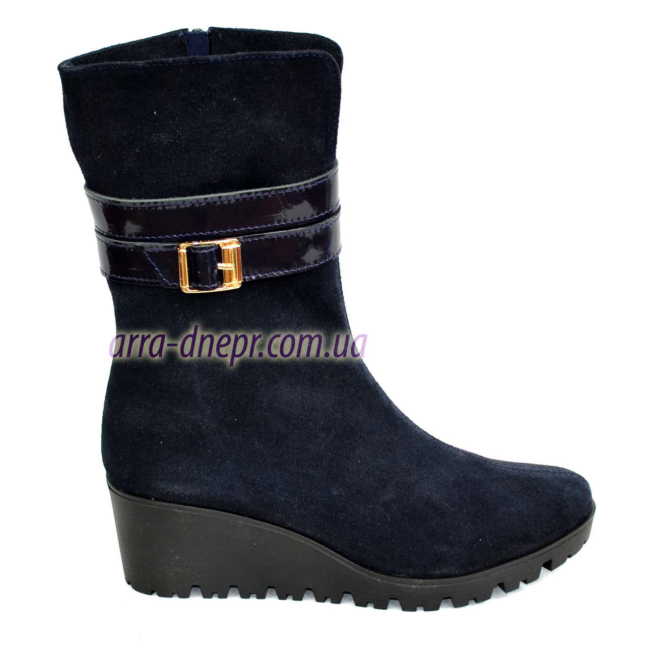 Женские   ботинки на невысокой платформе, натуральная синяя замша.