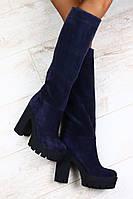 Сапоги Giuseppe Zanotti синие замшевые демисезонные и европейка на толстом устойчивом каблуке р.40