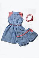 Платье с бантиком (хлопок деним + коралл)