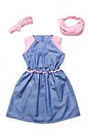 Платье с бантиком летнее для девочки (хлопок деним+розовый)