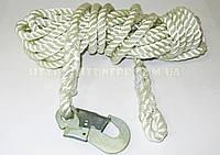 Фал спасательный канатный 12 м с одним малым карабином