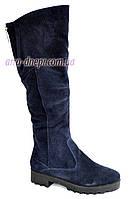 Ботфорты женские демисезонные замшевые на низком ходу, синий цвет