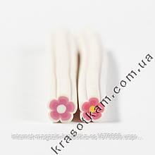 Фимо цветок розово-белый край штанга