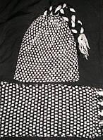 Комплект шерстяная двойная шапка + шарф двойная вя