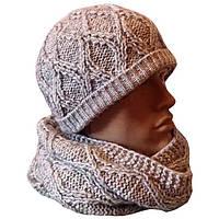Мужская вязаная шапка и шарф снуд объемной ручной вязки