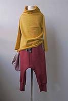 Бордовые штаны с карманами. Внутри начес. Практичные и стильные. 104 см, фото 1