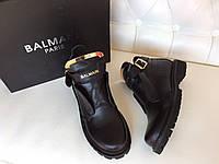 Крутые женские ботинки BALMAIN низкие натуральная кожа