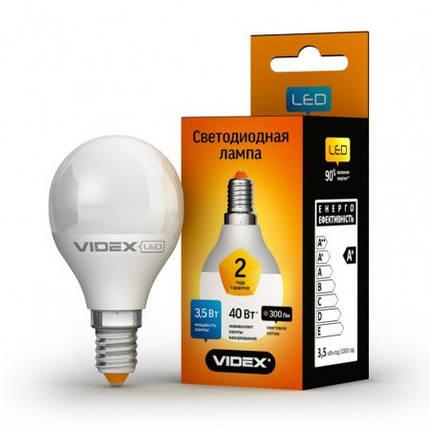 Светодиодная лампа LED 3,5W 3000K E14 VIDEX (G45e-35143), фото 2