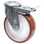 Колеса поворотные из полиуретана Norma с отверстием и тормозом, ролик.подш. Ø80,100,125,150,160,200мм