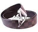 Мужской ремень из натуральной кожи под джинсы 301112 коричневый, фото 4