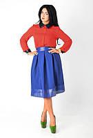 Стильная женская юбка с гофрированными вставками эко - кожи