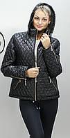Женская демисезонная стеганная  куртка  ПС-1 черная 54-66 размеры