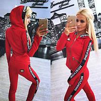 Костюм женский для спорта и отдыха, красный с чёрной отделкой