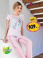 Женская пижама . Розовая футболка и брючки в полоску