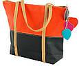 Женская сумка из экокожи 7240-21 черный с оранжевым, фото 2