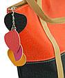 Женская сумка из экокожи 7240-21 черный с оранжевым, фото 3