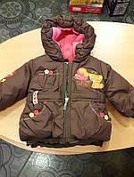 Курточка для девочки коричневая на овчине 68-74рр