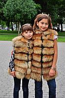 Красивый меховой жилет из лисы на девочку-подростка  от производителя