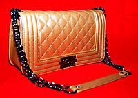 Клатч женский Шанель Бой, стеганный большой золотой