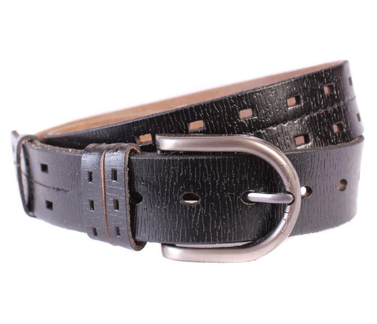 Мужской ремень из натуральной кожи под джинсы 301120 черный