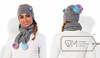 Комплект (шапка+шарф) /серый/