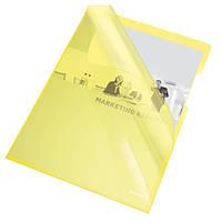 Папки-уголки глянцевые, цветные, прочные A4 / 150 мик, Esselte, желтый, 25 шт.