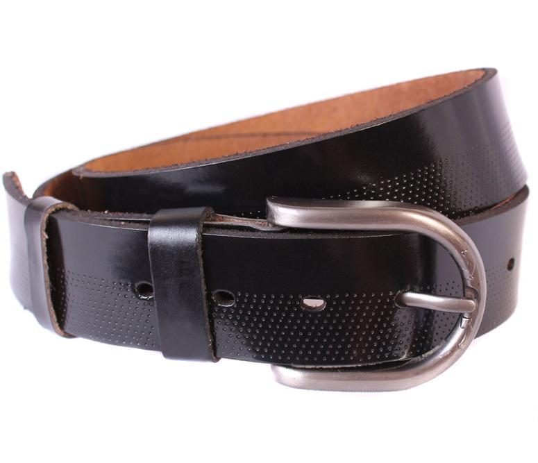 Мужской ремень из натуральной кожи под джинсы 301122 черный
