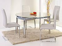Раздвижной кухонный стол Halmar Nestor с овальной стеклянной столешницей