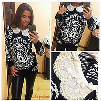 Оригинальный свитерок с воротничком (расцветки) Турция