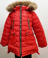 Модная зимняя куртка-полупальто для девочки 6-11лет цвет - красный