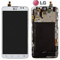 Дисплейный модуль (дисплей + сенсор) для LG G Pro Lite D686, с передней панелью, белый, оригинал