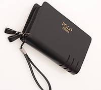 Мужское фирменное портмоне Polo - барсетка Поло- клатч на руку, чёрная ( код: IBP005B ), фото 1