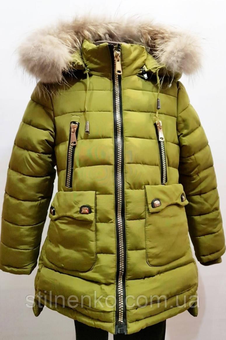 Модная зимняя куртка-полупальто для девочки 6-11лет цвет - оливковый
