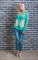 Кофта женская с капюшоном мята, фото 1