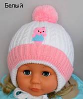 Белая зимняя шапочка для девочек