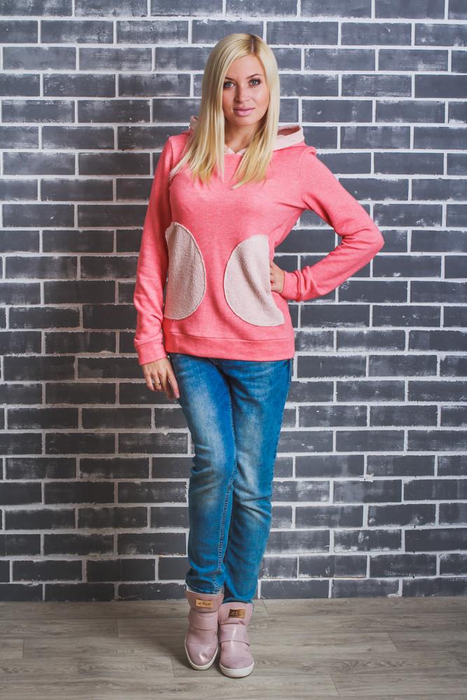 Кофта женская с капюшоном розовая
