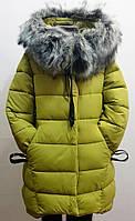 Модная зимняя куртка-полупальто для девочки 7-14 лет цвет - оливковый