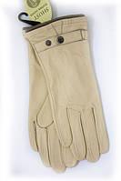 Кожаные бежевые женские перчатки