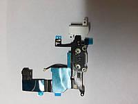Шлейф  Apple iPhone 5 системым коннектором и наушником белый original.